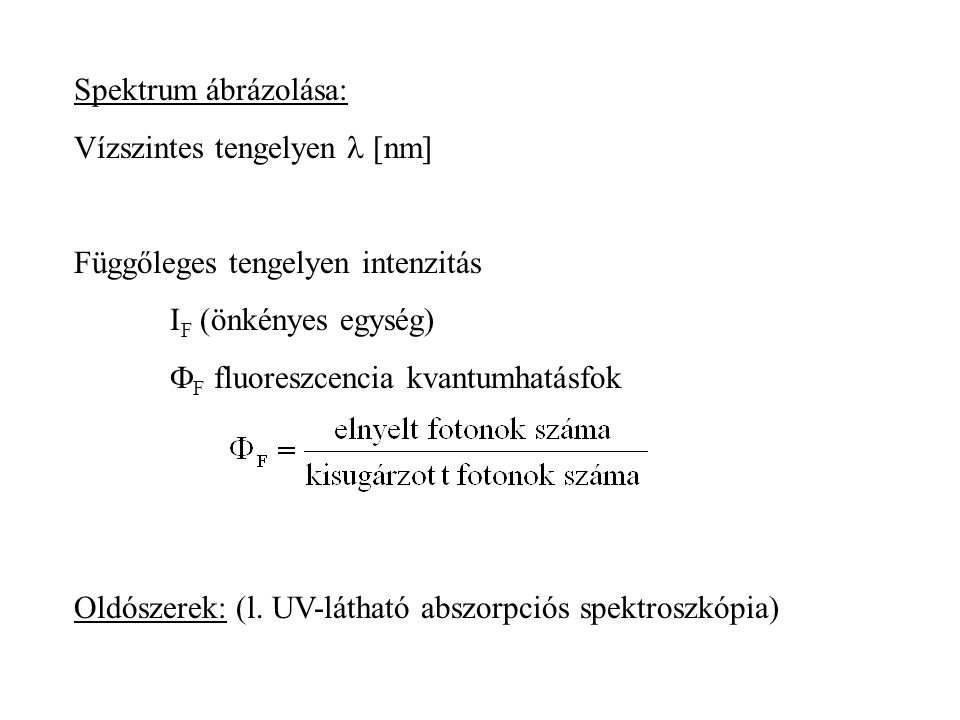 Spektrum ábrázolása: Vízszintes tengelyen l [nm] Függőleges tengelyen intenzitás. IF (önkényes egység)